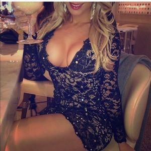 - Black lace holt Miami dress